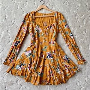 NWT urban outfitters floral dress mustard yellow
